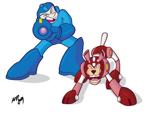 Mega Man and Rush Fan Art